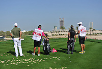 Paul Casey (ENG) and Jbe Kruger (RSA) on the par3 8th tee during Friday's Round 3 of the Commercial Bank Qatar Masters 2013 at Doha Golf Club, Doha, Qatar 25th January 2013 .Photo Eoin Clarke/www.golffile.ie