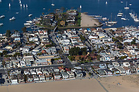 aerial photograph of Newport Beach, Bay Island in the background, Orange County, California