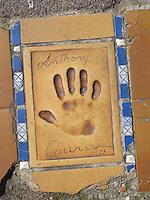 Hand print of the film star, Anthony Quinn, outside the Palais des Festivals et des Congres, Cannes, France.