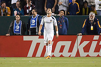 LA Galaxy forward Juan Pablo Angel (9) reacts after narrowly missing a goal. The LA Galaxy defeated the Philadelphia Union 1-0 at Home Depot Center stadium in Carson, California on  April  2, 2011....
