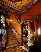 Governor Henry Lippitt  mansion, Providence, RI victorian interior 1865, Hope Street staircase with leather walls