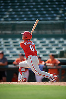 Philadelphia Phillies Rafael Marchan (6) hits a home run during a Florida Instructional League game against the Baltimore Orioles on October 4, 2018 at Ed Smith Stadium in Sarasota, Florida.  (Mike Janes/Four Seam Images)