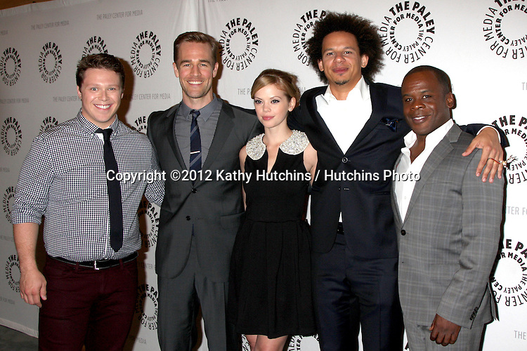 "LOS ANGELES - OCT 16:  Michael Blaiklock, James Van Der Beek, Dreama Walker, Eric Andre` and Ray Ford arrives at  An Evening With ""Happy Endings"" And ""Don't Trust The B---- In Apartment 23"" at Paley Center For Media on October 16, 2012 in Beverly Hills, CA"