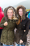 Ciana Lynch and Tara O'Shea wrapped up from  the gale force wind at the Rossbeigh races on Sunday