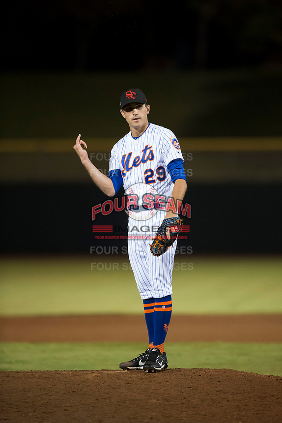 Scottsdale Scorpions relief pitcher Stephen Nogosek (29), of the New York Mets organization, during an Arizona Fall League game against the Mesa Solar Sox on October 9, 2018 at Scottsdale Stadium in Scottsdale, Arizona. The Solar Sox defeated the Scorpions 4-3. (Zachary Lucy/Four Seam Images)
