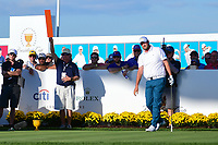Marc Leishman (AUS) watches his tee shot on 15 during round 1 foursomes of the 2017 President's Cup, Liberty National Golf Club, Jersey City, New Jersey, USA. 9/28/2017.<br /> Picture: Golffile | Ken Murray<br /> ll photo usage must carry mandatory copyright credit (&copy; Golffile | Ken Murray)