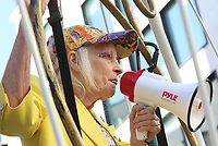 Dame Vivienne Westwood takes part in a protest which sees her suspended 10ft high inside a giant bird cage outside The Old Bailey (Central Criminal Court of England), in protest against the extradition of Julian Assange. Old Bailey, London on July 21st 2020<br /> CAP/ROS<br /> ©ROS/Capital Pictures