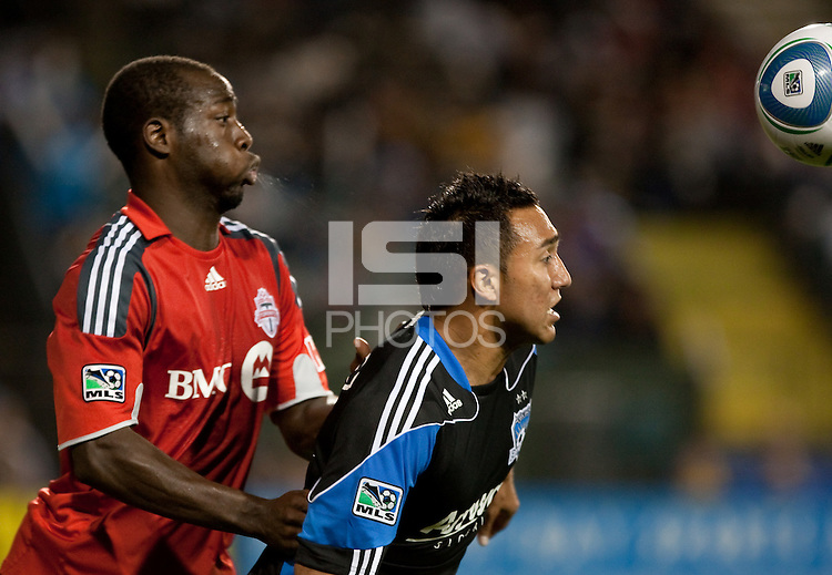 Arturo Alverez (right) tries to get to the ball ahead of Nana Attakora (left). Toronto FC defeated the San Jose Earthquakes 3-1 at Buck Shaw Stadium in Santa Clara, California on May 29th, 2010.