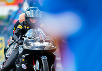 Mar 15, 2019; Gainesville, FL, USA; NHRA pro stock motorcycle rider Jianna Salinas during qualifying for the Gatornationals at Gainesville Raceway. Mandatory Credit: Mark J. Rebilas-USA TODAY Sports