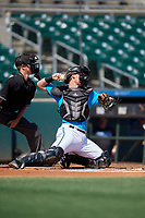 Miami Marlins catcher Gunner Pollman (59) throws down to third base during an Instructional League game against the Washington Nationals on September 25, 2019 at Roger Dean Chevrolet Stadium in Jupiter, Florida.  (Mike Janes/Four Seam Images)