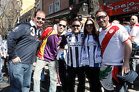Rayo Vallecano's supporter and Real Sociedad's supporters before La Liga match.April 14,2013. (ALTERPHOTOS/Acero)