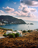 GREECE, Patmos, Grikos, Dodecanese Island, elevated view of Grikos Bay and the Agean Sea, as seen from the Petra Hotel
