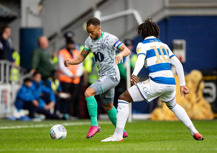 Blackburn Rovers' Elliott Bennett competing with Queens Park Rangers' Eberechi Eze (right) <br /> <br /> Photographer Andrew Kearns/CameraSport<br /> <br /> The EFL Sky Bet Championship - Queens Park Rangers v Blackburn Rovers - Saturday 5th October 2019 - Loftus Road - London<br /> <br /> World Copyright © 2019 CameraSport. All rights reserved. 43 Linden Ave. Countesthorpe. Leicester. England. LE8 5PG - Tel: +44 (0) 116 277 4147 - admin@camerasport.com - www.camerasport.com