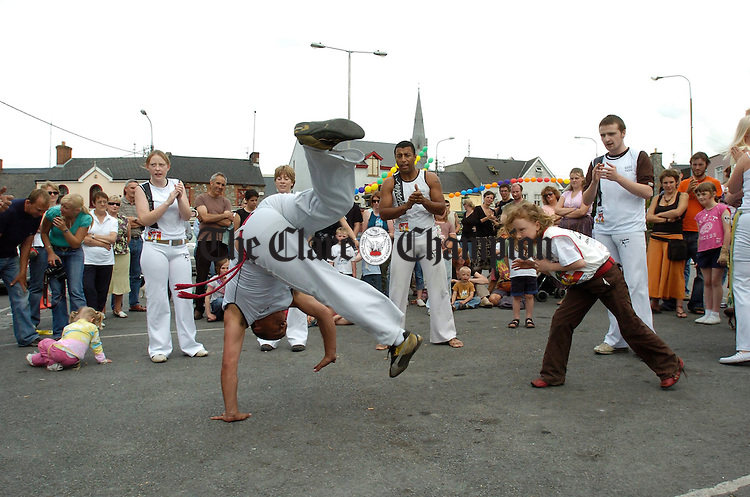The ancient art of Capoiera being practised during the street carnival in Ennis market on Sunday. Photograph by John Kelly.