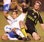 31 March 2007: Kansas City's Aaron Hohlbein (left) wins a challenge against Columbus's Eddie Gaven (right). The Kansas City Wizards tied the Columbus Crew 0-0 at Spry Stadium in Winston-Salem, North Carolina in an MLS preseason match.