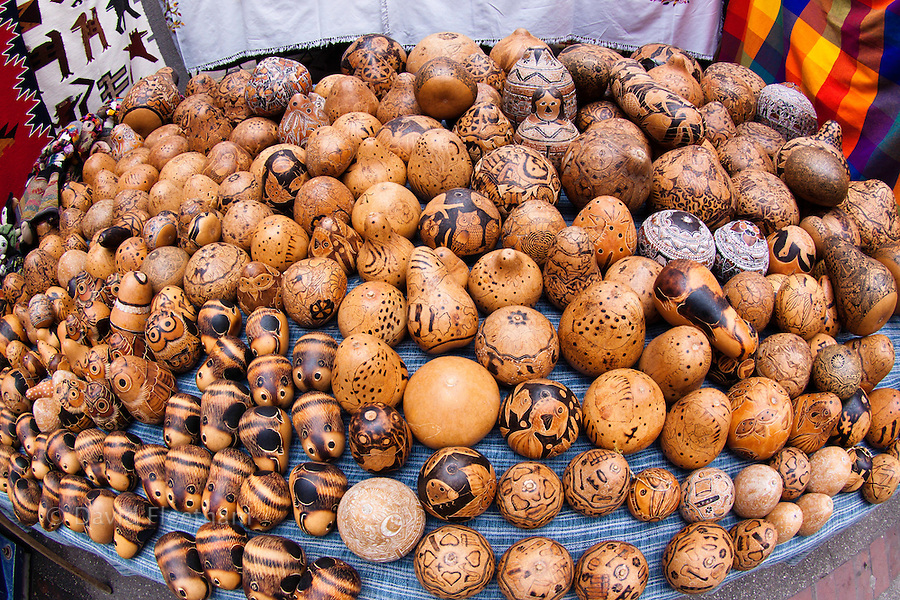 Hand carved gourds for sale in a large famous Indian market in the town of Otavalo, Equador.