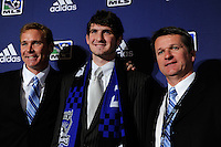 San Jose Earthquakes draft pick Andrew Hoxie with general manager John Doyle and head coach Frank Yallop during the MLS SuperDraft at the Pennsylvania Convention Center in Philadelphia, PA, on January 14, 2010.