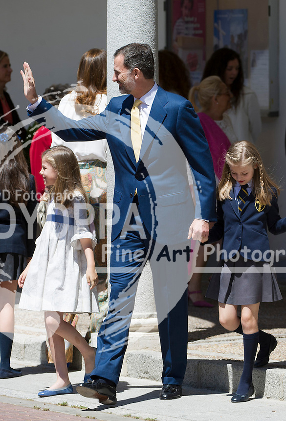 King Felipe VI; Princess of Asturias Leonor; Princess Sofia after First communion pose for media out of Church