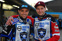Mateusz Szczepaniak of Poole Pirates left and Kacper Woryna of Poole Pirates right during Poole Pirates vs Belle Vue Aces, Elite League Speedway at The Stadium on 11th April 2018