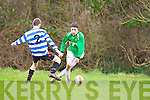 Tommy Feehan Castleisland skips past Donnacha Buckley QPR during their league clash in Castleisland on Sunday