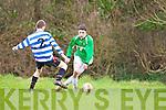 Tommy Feehan Castleisland skips past Donnacha Buckley QPR during their league clash in Castleisland on Sunday