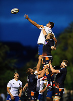 Elliott Stooke of Bath Rugby rises high to win lineout ball. Pre-season friendly match, between Edinburgh Rugby and Bath Rugby on August 17, 2018 at Meggetland Sports Complex in Edinburgh, Scotland. Photo by: Patrick Khachfe / Onside Images