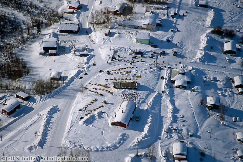 Aerial View of Ramey Smyth Arriving on Streets of Ruby.2004 Iditarod