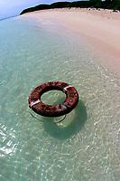 beach with life ring from Japan, Lisianski Island, Papahanaumokuakea Marine National Monument, Northwestern Hawaiian Islands, Hawaii, USA, Pacific Ocean