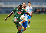 Mujaid Sadick (RC Deportivo de la Coruna) and Armando Sadiku (Malaga CF) competes for the ball during La Liga Smartbank match round 39 between Malaga CF and RC Deportivo de la Coruna at La Rosaleda Stadium in Malaga, Spain, as the season resumed following a three-month absence due to the novel coronavirus COVID-19 pandemic. Jul 03, 2020. (ALTERPHOTOS/Manu R.B.)