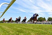 Winner of The Smith & Williamson Fillies' Novice Stakes (Class 5)) Tamreer ridden by Dane O' Nell and trained by Charles Hills during Afternoon Racing at Salisbury Racecourse on 17th May 2018