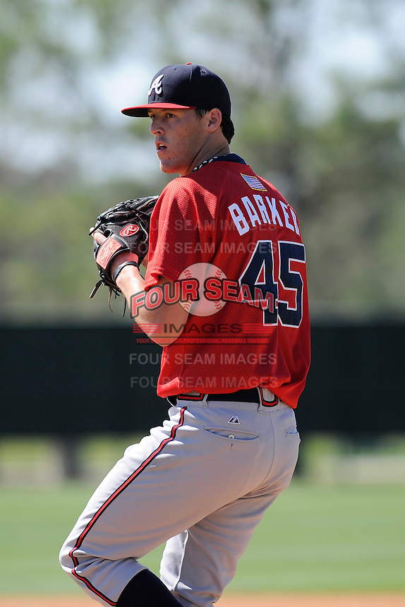 Pitcher Brandon Barker (45) of the Atlanta Braves farm system in a Minor League Spring Training workout on Monday, March 16, 2015, at the ESPN Wide World of Sports Complex in Lake Buena Vista, Florida. (Tom Priddy/Four Seam Images)