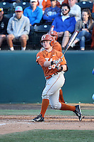 Zane Gurwitz (50) of the Texas Longhorns bats against the UCLA Bruins at Jackie Robinson Stadium on March 12, 2016 in Los Angeles, California. UCLA defeated Texas, 5-4. (Larry Goren/Four Seam Images)