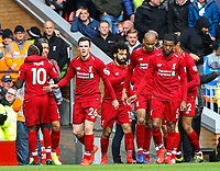 Liverpool players celebrate their second goal, scored by Sadio Mane<br /> <br /> Photographer Alex Dodd/CameraSport<br /> <br /> The Premier League - Liverpool v Burnley - Sunday 10th March 2019 - Anfield - Liverpool<br /> <br /> World Copyright © 2019 CameraSport. All rights reserved. 43 Linden Ave. Countesthorpe. Leicester. England. LE8 5PG - Tel: +44 (0) 116 277 4147 - admin@camerasport.com - www.camerasport.com