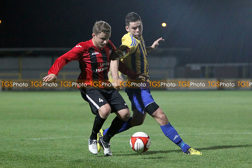 Matt Solly of Chatham tussles with Tom Richardson of Romford - Romford vs Chatham Town - Ryman League Division One North Football at Ship Lane, Thurrock FC - 10/10/12 - MANDATORY CREDIT: Gavin Ellis/TGSPHOTO - Self billing applies where appropriate - 0845 094 6026 - contact@tgsphoto.co.uk - NO UNPAID USE.