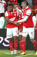 BOGOTA -COLOMBIA, 27 -JULIO-2014. Wilson Morelo (Izq) y Michael Rangel (Der) del  Independiente Santa Fe celebran el gol contra  Fortaleza FC durante partido   de La Liga Postobón 2014-2. Estadio El Campin  . / Wilson Morelo (L) and Michael Rangel (R)  of Independiente  Santa Fe celebrate their goal against Fortaleza FC Liga Postobón match during 2014-2.  El Campin Satadium . Photo: VizzorImage / Felipe Caicedo / Staff