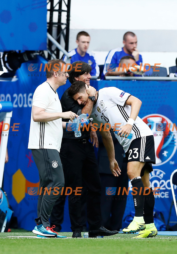 Mario Gomez Germany celebrating with Germany coach Joachim Low after the goal of 1-0 scored. Esultanza gol allenatore<br /> Paris 21-06-2016 Parc des Princes Footballl Euro2016 Northern Ireland - Germany  / Irlanda del Nord - Germania Group Stage Group C. Foto Matteo Ciambelli / Insidefoto