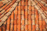 Walled city (stari grad) of Duvbrovnik, founded c. 972 along the Dalmatian Coast on the Adriatic Sea in Croatia--terra cotta roof