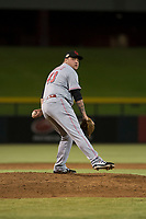Scottsdale Scorpions relief pitcher Ty Boyles (43), of the Cincinnati Reds organization, delivers a pitch during an Arizona Fall League game against the Mesa Solar Sox at Sloan Park on October 10, 2018 in Mesa, Arizona. Scottsdale defeated Mesa 10-3. (Zachary Lucy/Four Seam Images)