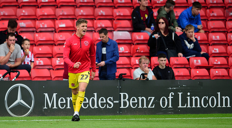 Fleetwood Town's Harrison Biggins during the pre-match warm-up<br /> <br /> Photographer Andrew Vaughan/CameraSport<br /> <br /> The EFL Sky Bet League One - Lincoln City v Fleetwood Town - Saturday 31st August 2019 - Sincil Bank - Lincoln<br /> <br /> World Copyright © 2019 CameraSport. All rights reserved. 43 Linden Ave. Countesthorpe. Leicester. England. LE8 5PG - Tel: +44 (0) 116 277 4147 - admin@camerasport.com - www.camerasport.com