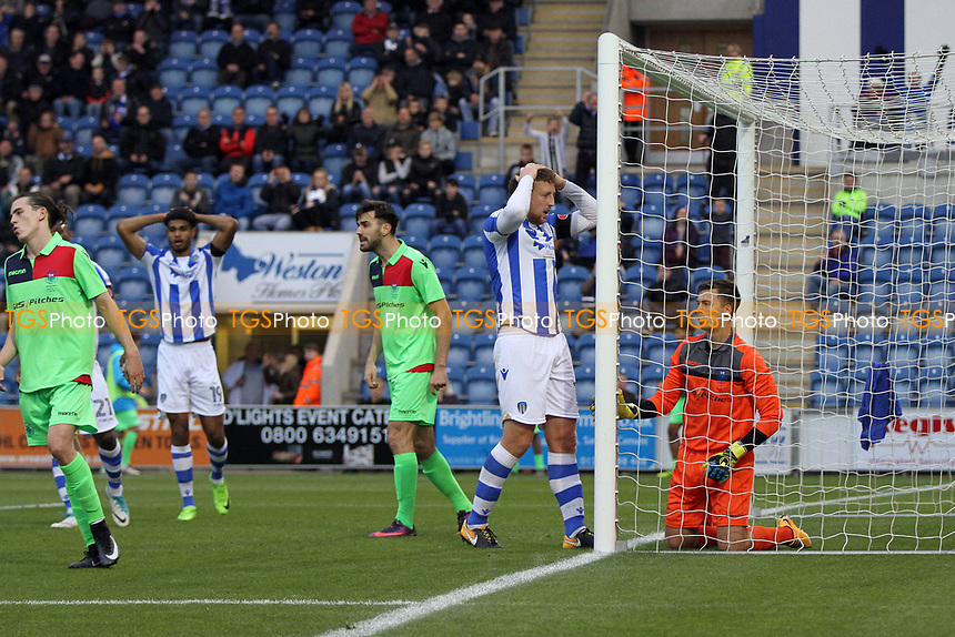 Tom Eastman of Colchester United holds his head as Colchester miss another good chance to score during Colchester United vs Oxford City, Emirates FA Cup Football at the Weston Homes Community Stadium on 4th November 2017