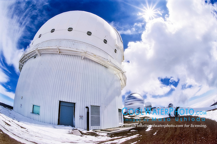 Canada-France-Hawaii Telescope ( CFHT ), Gemini Northern 8-meter Telescope, and other Mauna Kea Observatories in background, Mauna Kea summit, Big Island, Hawaii, USA