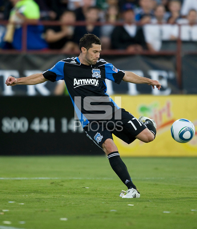 Joey Gjertsen of Earthquakes in action during the game against the Timbers at Buck Shaw Stadium in Santa Clara, California on August 6th, 2011.   San Jose Earthquakes and Portland Timbers tied 1-1.
