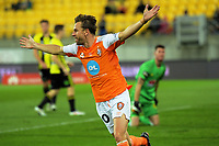 Brett Holman celebrates his goal during the A-League football match between Wellington Phoenix and Brisbane Roar at Westpac Stadium in Wellington, New Zealand on Sunday, 25 January 2018. Photo: Dave Lintott / lintottphoto.co.nz