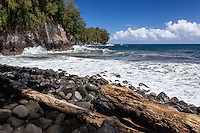 View of ocean from Kolekole Beach Park in Honomu, Big Island, Hawaii