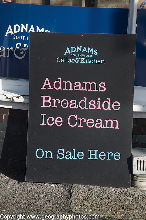 Blackboard advertising Adnams Broadside beer ice cream, Southwold, Suffolk, England