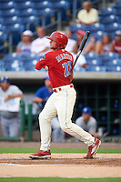 Clearwater Threshers first baseman Kyle Martin (27) at bat during a game against the Dunedin Blue Jays on August 15, 2016 at Bright House Field in Clearwater, Florida.  Dunedin defeated Clearwater 4-1.  (Mike Janes/Four Seam Images)