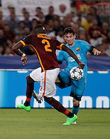 Calcio, Champions League, Gruppo E: Roma vs Barcellona. Roma, stadio Olimpico, 16 settembre 2015.<br /> FC Barcelona's Lionel Messi, right, is challenged by Roma's Antonio Ruediger during a Champions League, Group E football match between Roma and FC Barcelona, at Rome's Olympic stadium, 16 September 2015.<br /> UPDATE IMAGES PRESS/Isabella Bonotto