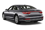 Car pictures of rear three quarter view of a 2018 Audi A8 Base 4 Door Sedan angular rear