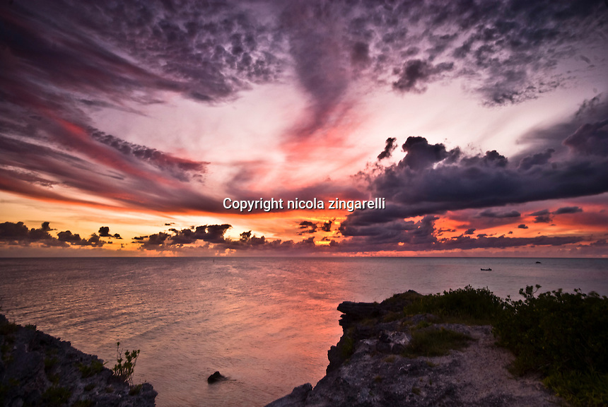 Cloudy sky at sunset along the western coast of bermuda