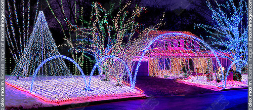 stock photo stock photo of a house decorated with colorful christmas lights shining at night xmas holiday decoration thornhill canada 2007 panoramic photo